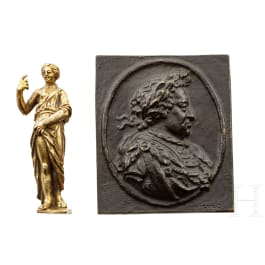 A German bronze plaque and a figurine, 17th century