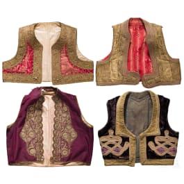 Four embroidered Balkan Turkish waistcoats, 1st half of 20th century