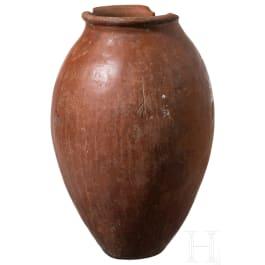 A bellied red-black vessel, Naqada culture, Upper Egypt, circa 3500 B.C.