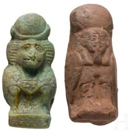 Two Egyptian amulett figures, 2nd - 1st millenium B.C.