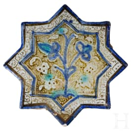 A Kashan tile with blue inglaze painting, Iran, 12th - 13th century