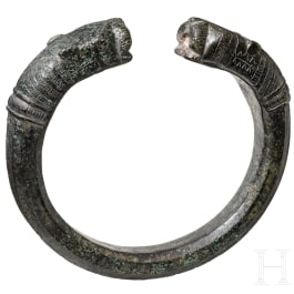 A Greek bronze bracelet with heads of panthers, 6th century B.C.
