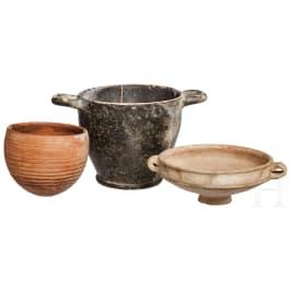 Three Greek and Roman ceramic vessels