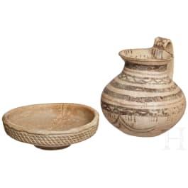An Italian bowl and a Daunian jug, 5th - 1st century B.C.