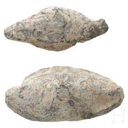 Two inscribed Roman-Spanish slingshot bullets, lead, 50 - 40 B.C.