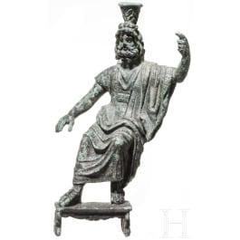 An enthroned Roman Serapis statuette, 2nd - 3rd century