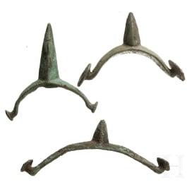 Three Late Celtic spikes, bronze, 1st century B.C.