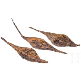 Three Celtic iron ingots, Latène period, 3rd - 1st century B.C.