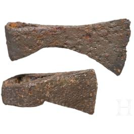 Two Central European Celtic axe heads, 3rd – 1st century B.C.