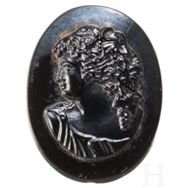 A black cameo with a fine portrait of the youthful Dionysus, probably 19th century