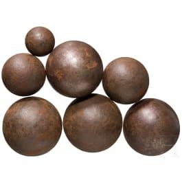 Seven 17th/18th century cannonballs