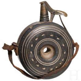 A wooden primer flask, German military, circa 1600