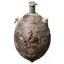 A tin-mounted colonial coconut powder flask, ca. 1800