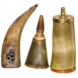 Three German powder flasks, 18th century