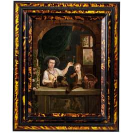 Neuer Meister, Gemälde mit Dame, Junge und Hund am Fenster, deutsch, um 1800
