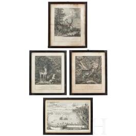 Vier jagdliche Stiche, davon drei von Johann Elias Ridinger, Augsburg, um 1760