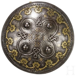 A gold- and silver-inlaid shield, Lahore, 19th century