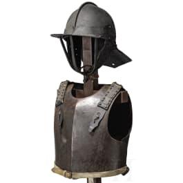 An English helmet and cuirass, mid-17th century