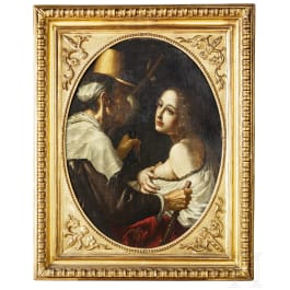 An Italian baroque Old Master painting, Caravaggismo, 17th century