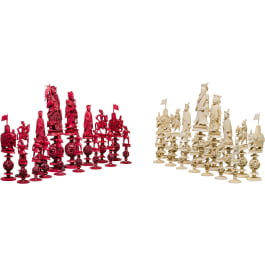 A Chinese carved ivory chess set, Guangzhou, 19th century