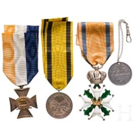 Niederländische Auszeichnungen des 19. Jhdts. für einen Militärangehörigen der Familie von Daehne
