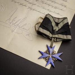 "Oberstleutnant Erich Böhme – Orden ""Pour le Mérite"" mit Verleihungsurkunde"