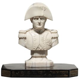A French ivory bust of Napoleon, circa 1860