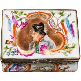 A porcelain box with Napoleon motif, circa 1815