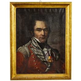 Hauptmann Edmund Tugginer im de Roll's Regiment – Portraitgemälde, datiert 1821