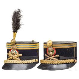 Two kepis – Due Chepì da ufficiale artiglieria da costa