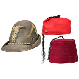 A hat and two fezes - Tarboosh, Berretto Alpino da Tenente e due Fez