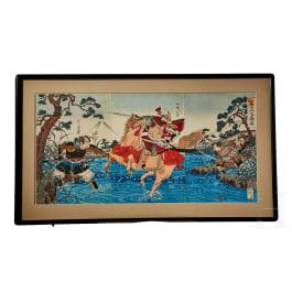 A print of a Samurai battle by Nobukazu
