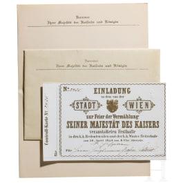 """Josef Latour von Thurmburg (1820-1903) – Einladungskarte der Stadt Wien zum Festball """"zur Vermählung Seiner Majestät des Kaisers"""" Franz Joseph I. mit Kaiserin Elisabeth am 30. April 1854"""