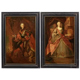 Elector Karl Theodor of Bavaria (1724-99) and his wife Elisabeth Auguste of Pfalz-Sulzbach 1721-94 – a pair of portrait paintings from Royal Bavarian provenance
