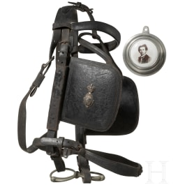 King Ludwig II of Bavaria – blinkers and a horse-bit with leather harness allegedly from one of the royal coaches from Herrenchiemsee, circa 1880