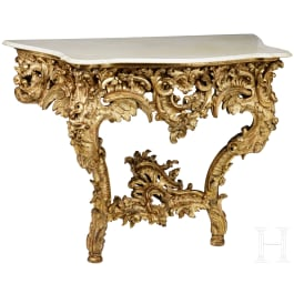 King Ludwig II of Bavaria – a neo-Rococo wall console table from one of the White Cabinets at Linderhof Castle, Royal Court Manufacturer Anton Pössenbacher, 1873