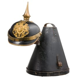A helmet for military servants with hat case, circa 1890