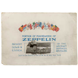 """A fragment of the frame of the German Zeppelin """"L 33"""" which was shut down in 1916 near Essex/England"""