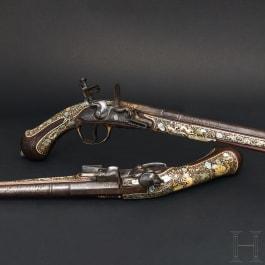 Ein bedeutendes Paar reich verbeinter Steinschlosspistolen, Schlesien, um 1690
