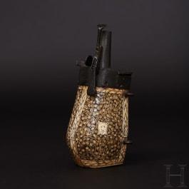 A Saxon powder flask with a bullet reservoir for wheellock puffers, circa 1580