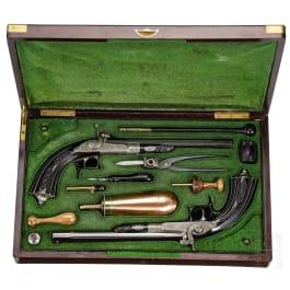 Ein Paar Stiftfeuerpistolen im Kasten, Jansen in Brüssel, um 1865