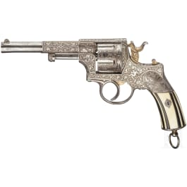 Revolver Chamelot Delvigne, graviert, vernickelt, um 1872