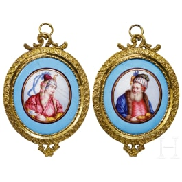 Two oriental miniature portraits, 1st half of the 19th century