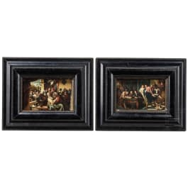 A pair of small Flemish paintings in the manner of Jan Steen, 19th century