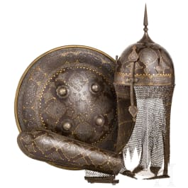A set of Persian armour, chiselled and inlaid in gold, 1st half of the 19th century