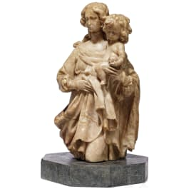 A Flemish alabaster figurine of the Virgin Mary with the Infant Jesus, 16th/17th century