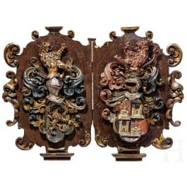 Two German escutcheons, 17th century