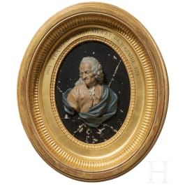 A wax bust of the philosopher Voltaire, by Caspar Berhard Hardy, Cologne, circa 1780