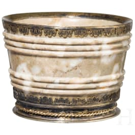 A silver mounted Italian mortar in exceptional marble, 19th century