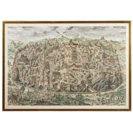 Johann Daniel Herz the Elder (1693 - 1754) – A capriccio view of Jerusalem in coloured copperplate, 1735